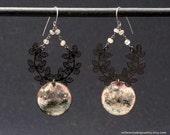 Moon earrings - butterfly earrings - grey green pink - torch fired enamel - labradorite chain -boho assemblage - handmade OOAK - night jewel