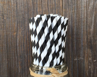 100  Black Striped Straws, Over the HIll Birthday, Wedding Shower, Wedding, Formal Event, Halloween, Cake Pops