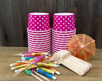 Hot Pink Polka Dot Mini Ice Cream Cups Kit with Mini Wooden Taster Spoons and Paper Umbrellas- Birthday Party Supply- Dessert Supply 24 Pk