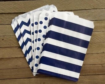 48 Navy Favor Bags-- Chevron, Stripe and Polka Dot Favor Bag--Candy Favor Bag--Chevron Goodie Bags--Chevron Party Sack--Birthday Treat Sacks
