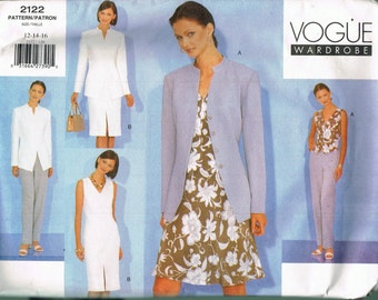 Size 12-16 Misses' Sewing Pattern - Jacket Pattern - Sleeveless Dress Pattern - Straight Leg Pants - Misses Separates - Vogue Wardrobe 2122