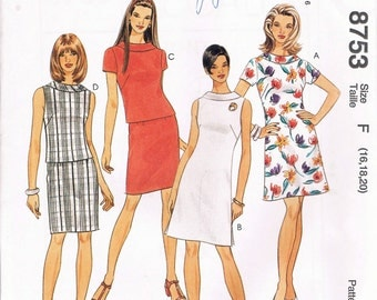 UNCUT Size 16-20 Misses' A Line Dress With Roll Collar Or Top & Skirt Sewing Pattern - McCalls 8753