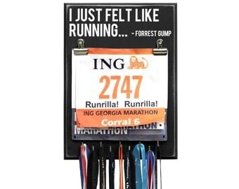 I Just Felt Like Running - Forrest Gump - Medal Bib Hanger - Black - 9 Hooks