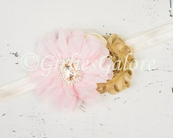 Pink and Gold Headband, Baby headband, Blush Pink Gold Flower Girl Headband, Pink Girls Headband, Girls First Birthday Headband