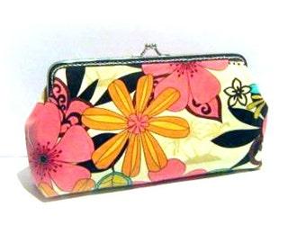 Orange flower frame clutch makeup bag pink flower frame clasp pouch, cotton snap frame purse, silver purse frame