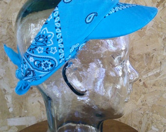 Turquoise Bandana Headband/Visor - Ready to Ship