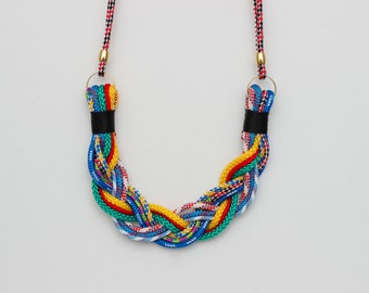 Multicolor Braided Rope Necklace - Paracord Necklace - Braided Necklace - Statement Necklace - Bib Necklace - Red, Blue, Yellow, Black