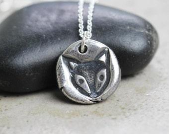 Fox Pendant Fine Silver Necklace Woodland Animal Silver Fox Totem Jewelry Animal Jewelry Fox Necklace