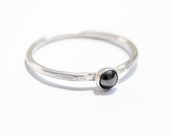 Handmade 4mm Hematite ring, sterling silver, stacking ring, dark grey ring, skinny ring