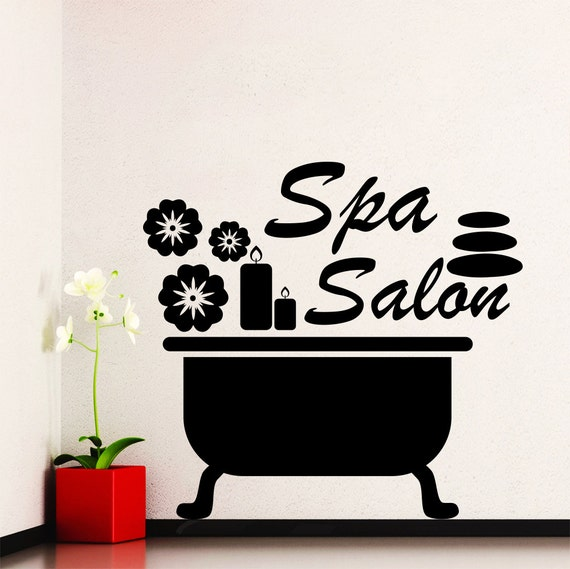 Items similar to wall decals bathroom stones decal beauty for Stickers salon design