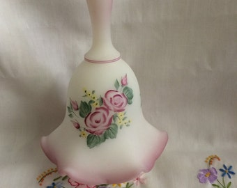 Fenton Burmese Bell Custard Satin Hand Painted ruffled and signed by J. Cutshaw