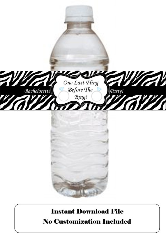 zebra print bachelorette water bottle label bachelorette With animal print water bottle labels