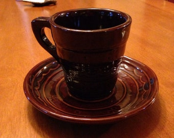 Fifties Marcrest Colorado Brown One Finger Cup and Saucer
