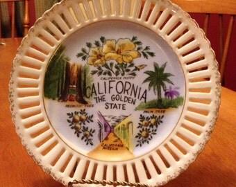 Great Vintage California Handpainted Ceramic Plate