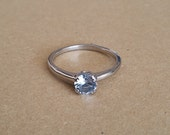 Natural Aquamarine Solid Sterling Silver Titanium or white gold  Solitaire engagement ring  handmade engagement ring  wedding ring