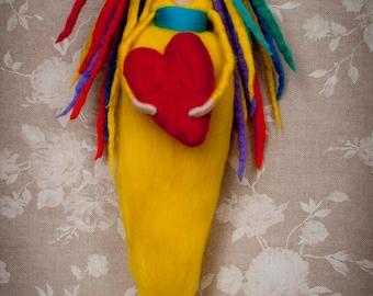 Needle and wet Felted rainbow rasta girl named 'LOVE'