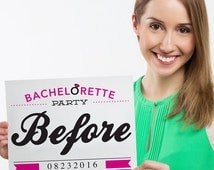 Bachelorette Party Before And After Photo Props - Mug Shot - Bachelorette Photo Prop - Bachelorette Party Game - Instant Download
