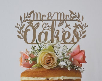 Rustic Wedding Cake Topper Personalised Mr And Mrs Woodland