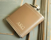 Monogrammed Flask, Personalized Flask, Vegan Leather Flask, Custom Engraved Flask: Gift for Him, Valentine Day, Stocking Stuffer, Groomsmen