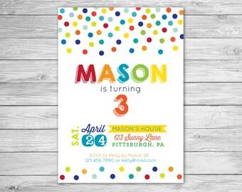 Ball Birthday Invitation - Boy - Girl - Printable File - Rainbow Polka Dot Birthday Invitation