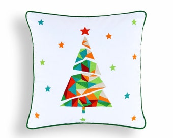 "Christmas pillow cover, christmas tree, geometrical, embroidered pillow size 16""X 16"""