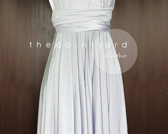 Silver Bridesmaid Dress Convertible Infinity Dress Multiway Dress Wrap Dress Wedding Dress Maid of Honor Dress Toga Cocktail Evening Dress