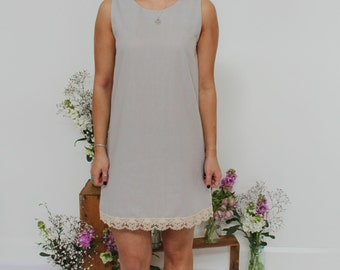 SALE!! Summer Organic Cotton Shift Style Dress  - Ash