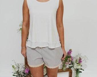 SALE!! White Bamboo Summer Singlet Top - Whisper White