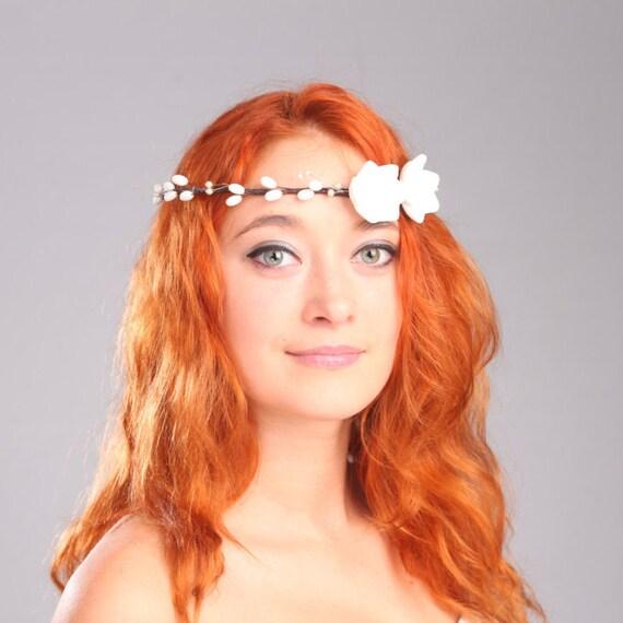 bridal diadem, hair clay flowers, floral wreath ,coronet, hair decoration, hair accessories, white