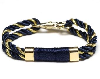 Nautical Rope Bracelet / Navy Blue Rope Bracelet / Nautical Jewelry / Summer Jewelry / Metallic Gold Rope Bracelet / Preppy Bracelet