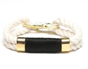 Nautical Rope Bracelet / Black Rope Bracelet / Gold Nautical Bracelet / Gold Rope Bracelet / Nautical Jewelry / Nautical Gift