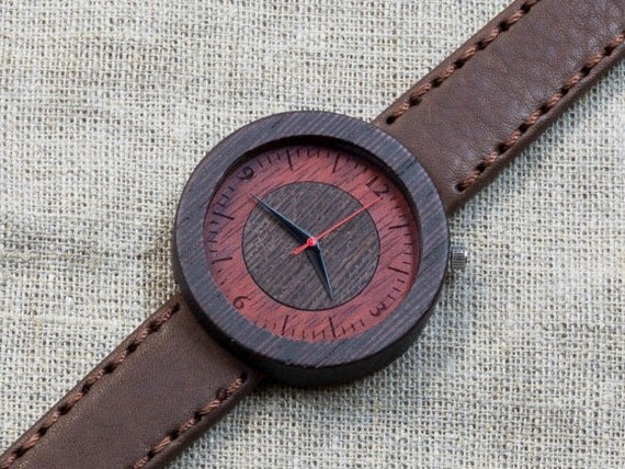 Black Wenge  minimal wood watch , Majestic Watch,  Brown Genuine Leather strap + Any Engraving / Ready Gift Box. Anniversary  gift