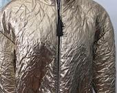 Vintage Gold Lame Bomber Jacket Cache Circa 1980's size 10
