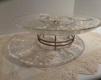 Vintage Mid Century Lazy Susan Serving Platter Spinning Relish Dish Gold Trim