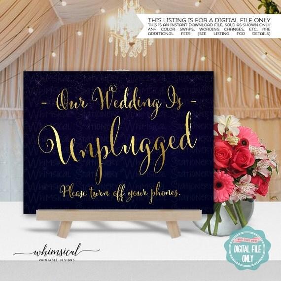 "No Ceremony Just Reception: Unplugged Wedding Sign ""Starstrewn Night"" (Printable File"