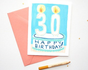Unique Happy 30th Birthday Cake Card