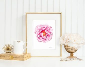 Flower Painting Art Print by Michelle Mospens, Flower Print, Peony Print