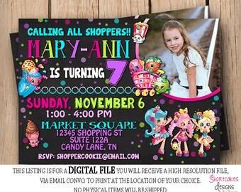 Shopkins Birthday invitation - Shopping Party -  Photo Girls Birthday- Printable