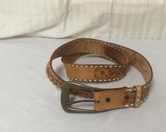 Tooled leather belt ,solid brass buckle,  removable buckle