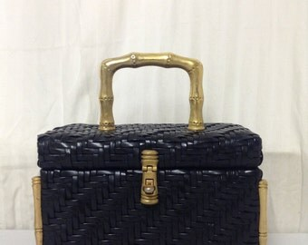 Free Ship Lesco Lona Box Purse Woven Gold Tone Black 50s 60s