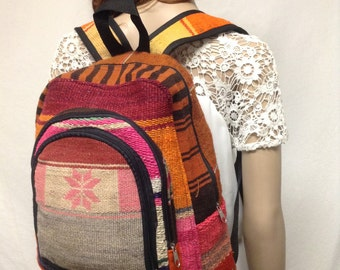 Kilim Backpack,canvas backpack, Kilim canvas back pack ,Orange, Red Green,Snowflake, Free shipping in the US