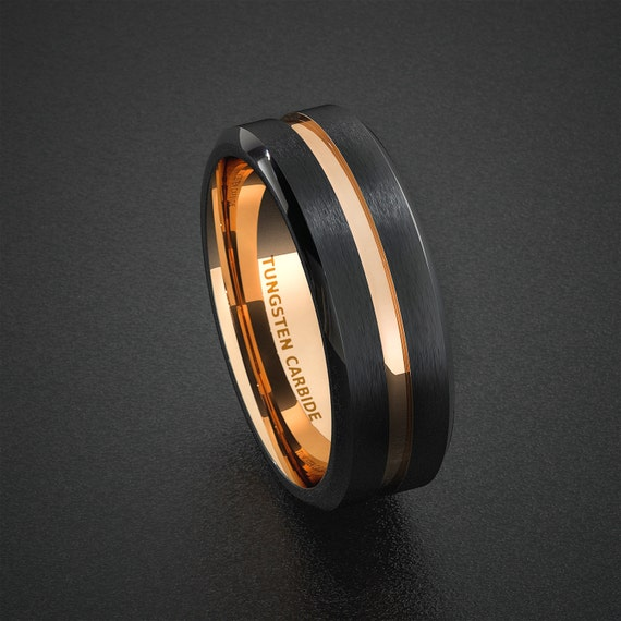 Tungsten Wedding Band Mens Ring Two Tone Rose Gold By Sydneykimi