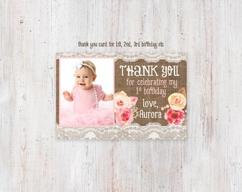 Birthday thank you cards, photo thank you cards, printable thank you card, thank you photo card, pink shabby thank you card, print at home