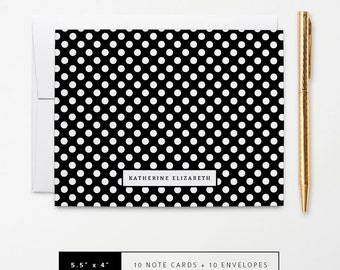 Flat or Folded Note Cards // Set of 10 // Black & White Polka Dots with Name // Personalized Stationery // S101