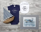 Baby boy coming home outfit nautical baby navy blue and gray bodysuit bib and print monogrammed personalized newborn baby shower gift