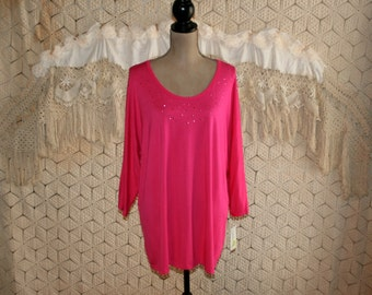 Plus Size 1X Stretch Knit Top Dark Pink Blouse Dolman Sleeve Womens Shirts Scoop Neck Hot Pink Top Rhinestones Rayon New Womens Clothing