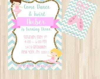 Ballet Birthday Invitation, Ballerina Birthday Invitation, Ballerina Invitation, Ballet Party, Ballerina Party, Tutu, Ballerina