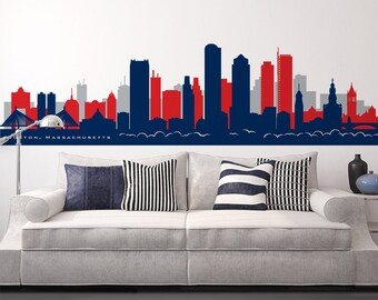 BOSTON Massachusetts Skyline Wall Decal New England Vinyl Wall Decor Office Football Team colors Skyline