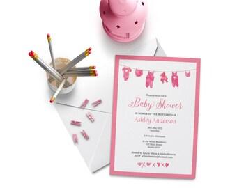 Baby Shower Invitation Girl in Pink