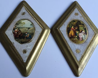 Florentine Plaques  PAIR Italian Scenes from Country and City Wall Hanging